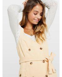 Miss Selfridge Petite Camel Pinafore Corduroy Dress - Natural