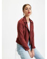 Miss Selfridge - Burgundy Suedette Biker Jacket - Lyst
