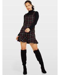 Miss Selfridge Black Frill Hem Pinafore Dress - Pink