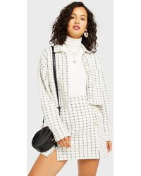 Miss Selfridge Ivory Jersey Boucle Blazer - White