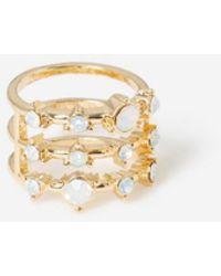 Miss Selfridge Blue Bead Triple Row Ring - Metallic