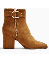 Miss Selfridge Bea Tan Buckle Ankle Boots - Brown