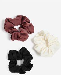 Miss Selfridge Satin Scrunchie Pack - Black