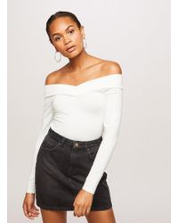 426aed76cd33a Lyst - Miss Selfridge Puff Lace Sleeve Sweetheart Neckline Top in Black