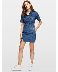 Miss Selfridge Blue Denim Elastic Waist Dress