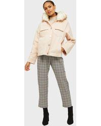 Miss Selfridge Pale Pink Faux Fur Hooded Parka Coat