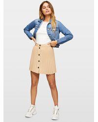 Miss Selfridge Camel Button Pleated Mini Skirt - Natural
