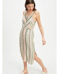 Miss Selfridge - Multi Colour Chevron Stripe Dress With Linen - Lyst