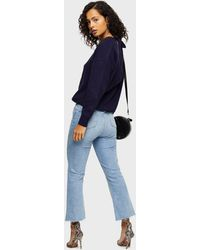 Miss Selfridge Navy V Neck Cable Knitted Sweater - Blue