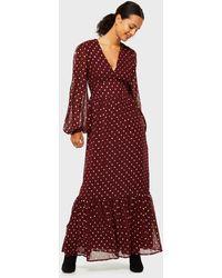 Miss Selfridge Burgundy Spot Print Lurex Maxi Dress - Red