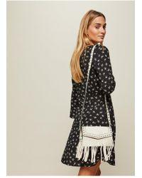 Miss Selfridge Fringe Cross Body Bag - Natural