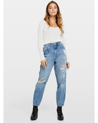 Miss Selfridge Petite Mom Blue High Waist Slim Fit Jeans