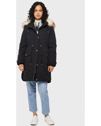 Miss Selfridge Black Faux Fur Lined Luxe Parka