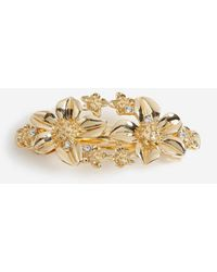 Miss Selfridge Gold Look Flower Barrette Hair Clip - Metallic