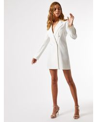 Miss Selfridge Ivory Tuxedo Dress - White