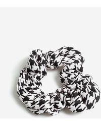 Miss Selfridge Black And White Dogtooth Fabric Scrunchie