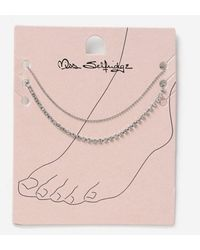 Miss Selfridge Crystal Rhinestone 2 Pack Anklet - Multicolour
