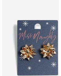 Miss Selfridge Gold Bow Stud Earrings - Metallic