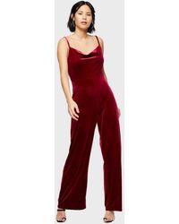 Miss Selfridge Burgundy Velvet Cowl Jumpsuit - Red