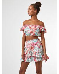 Miss Selfridge Pink Watercolour Poplin Ruffle Mini Skirt