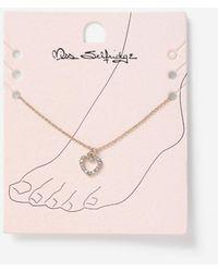 Miss Selfridge Gold Look Crystal Heart Anklet - Pink