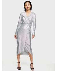 Miss Selfridge Silver Metallic Twist Midi Dress