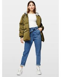 Miss Selfridge Khaki Jersey Hood Puffer Coat - Green