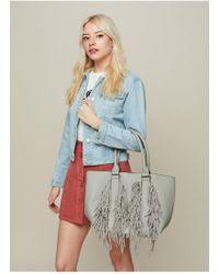 Miss Selfridge Fringe Tote Bag - Gray