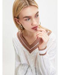 Miss Selfridge White V-neck Cricket Knitted Jumper