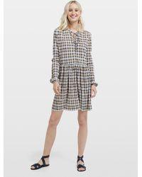 Miss Selfridge Multi Color Checked Plisse Smock Skater Dress - Gray