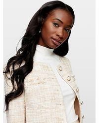 Miss Selfridge Cream Boucle Blazer - Natural