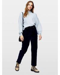Miss Selfridge Mom High Waist Tapered Leg Black Velvet Jeans