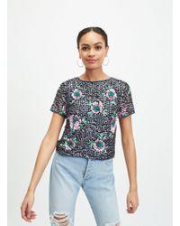 Miss Selfridge Black Floral Sequin Embellished T-shirt