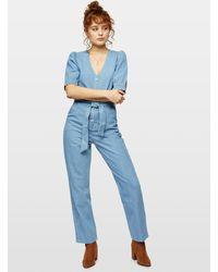 Miss Selfridge Blue Mid Wash Denim Puff Sleeve Denim Boiler Suit