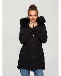Miss Selfridge Black Faux Fur Hooded Parka