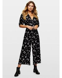 Miss Selfridge Black Ditsy Print Leah Wrap Jumpsuit