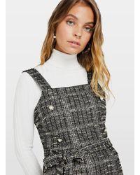 Miss Selfridge Petite Gray Jersey Boucle Pinafore Dress - Black