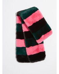 Miss Selfridge - Multi Coloured Striped Fur Scarf - Lyst