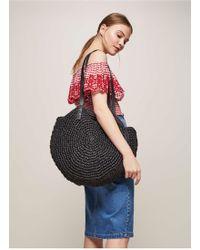 Miss Selfridge - Black Circle Straw Tote Bag - Lyst