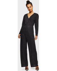 Miss Selfridge Black Velvet Glitter Jumpsuit