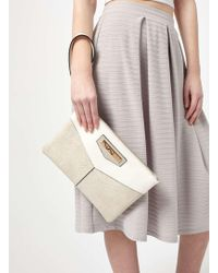 Miss Selfridge - Grey Zip Top Clutch Bag - Lyst