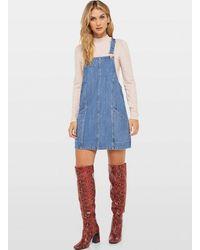 Miss Selfridge Blue Denim Seam Front Pinafore Dress
