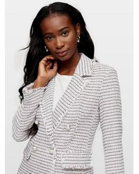 Miss Selfridge Pink Boucle Military Blazer