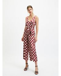Miss Selfridge Burgundy Satin Large Spot Jumpsuit - Red
