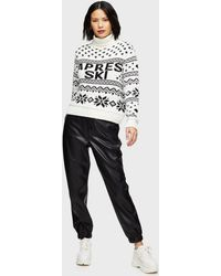 Miss Selfridge Cream Apres Ski Knitted Jumper - White