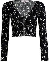 Miss Selfridge Petite Black Floral Knitted Cardigan
