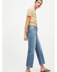 Miss Selfridge - Faye Blue Straight Leg Denim Jeans - Lyst