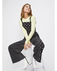 Miss Selfridge Petite Black Spot Pinny Jumpsuit