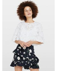 Miss Selfridge Ivory Embroidered Cape - White