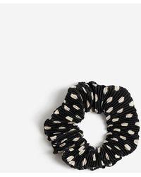 Miss Selfridge Black And White Polka Dot Ribbed Scrunchie